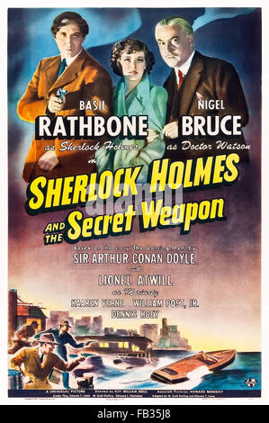 Poster for 'Sherlock Holmes and the Secret Weapon' 1942 Sherlock Holmes film directed by Roy William Neill and starring - Stock Photo