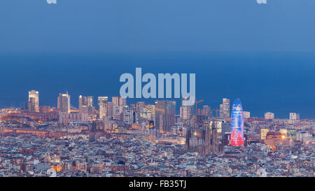 Barcelona Skyline from the Mountain Side of the City - Stock Photo