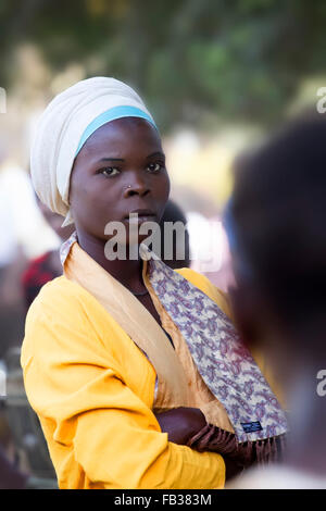 Mbale, Uganda - February 15, 2011: Portrait of a beautiful african girl from eastern Uganda. - Stock Photo