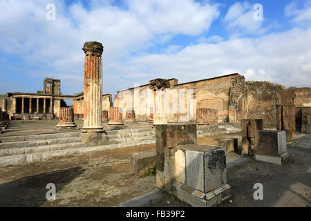 The Temple of Jupiter, Pompeii, the Roman city buried in lava near Naples city, UNESCO World Heritage List 1997, - Stock Photo