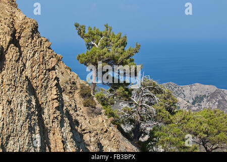 Landscape with mountains and sea, Karpathos, Greece - Stock Photo