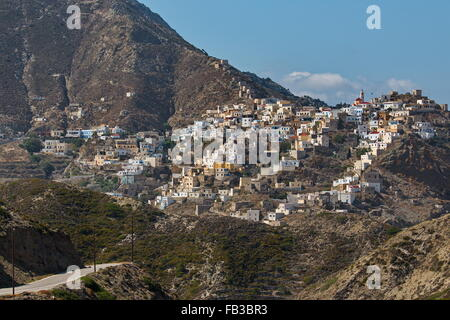 Landscape with mountains and village, Olympos, Karpathos, Greece - Stock Photo
