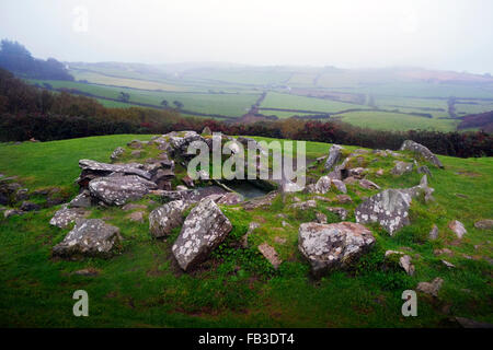 Drombeg Stone Circle historic site showing the ancient cooking pit. Glandore West Cork Ireland - Stock Photo
