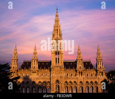 The outside of the Rathaus in Vienna at Sunrise - Stock Photo