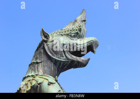demon guardian statues at temple of the emerald buddha - Stock Photo