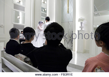 western style wedding with the women dressed in kimono - Stock Photo