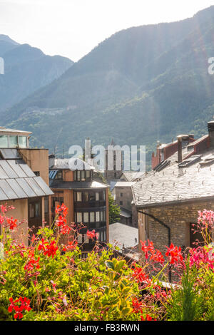 Historic City Center, Andorra la Vella, capital city of Andorra, Andorra - Stock Photo