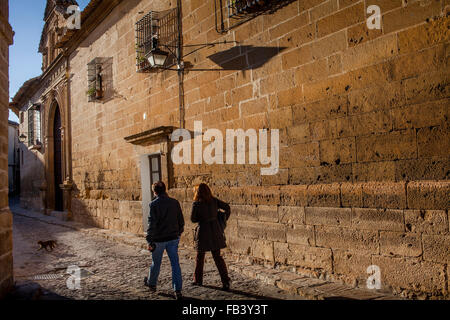 Calle de Alvaro de Torres.Wall of Santa Clara convent. Úbeda. Jaén province. Spain - Stock Photo