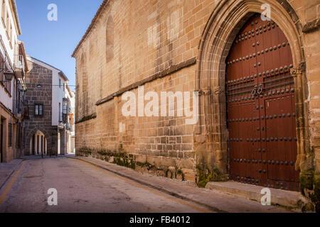 Calle de Roque Rojas, at right facade of Church, Iglesia de San Pablo, Ubeda, Andalusia, Spain - Stock Photo