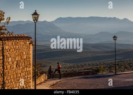 Olive fields from Ronda Antonio Muñoz Molina.In background Sierra Mágina.Ubeda.Jaen province. Andalusia. Spain - Stock Photo