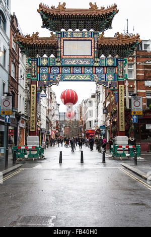 Entrance to Chinatown in the Soho area of the City of Westminster in London, England, London, United Kingdom - Stock Photo