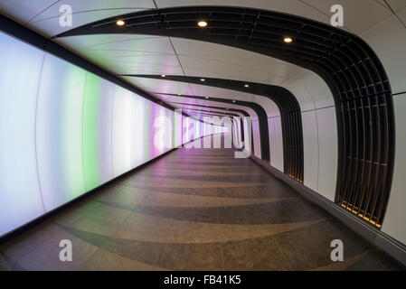 Light Wall Pedestrian Tunnel Kings Cross : New pedestrian tunnel with integrated lightwall at King s Cross Stock Photo, Royalty Free Image ...