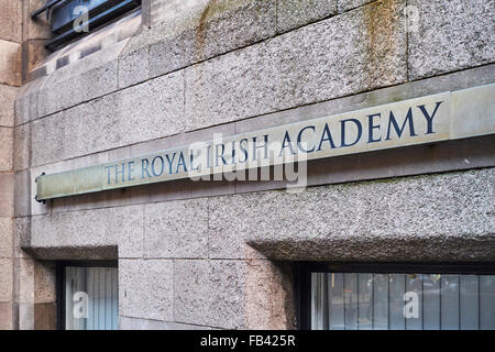 DUBLIN, IRELAND - JANUARY 04: Detail of the Royal Irish Academy entrance, on Dawson Street. January 04, 2016 in - Stock Photo