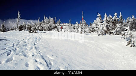 highest hill of Moravskoslezske Beskydy mountains Lysa hora hill with lot of snow, small trees and TV tower during - Stock Photo