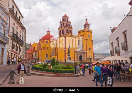 Basilica Colegiata de Nuestra Senora de Guanajuato in the UNESCO World Heritage Site city of Guanajuato, Mexico - Stock Photo