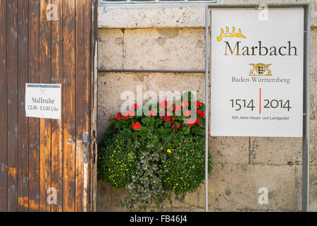 sign commemorating the 500th anniversary of marbach stud, marbach, baden-württemberg, germany - Stock Photo