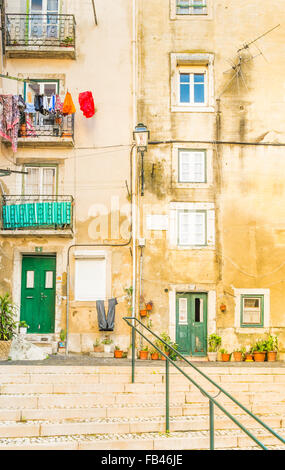 staircase in front of typical houses, alfama district, lisbon, portugal - Stock Photo