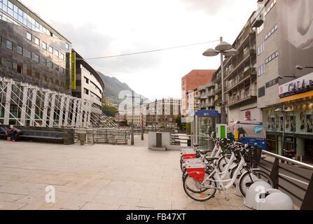 Andorra la Vella, Andorra- September 11,2014: Citizens have a rest in a recreation area - Stock Photo