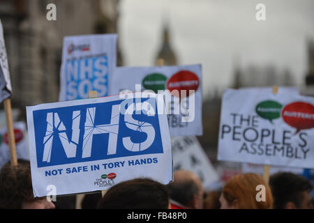 London, UK. 9th January 2016. Student Nurses stage a protest march through central London Credit:  Matthew Chattle/Alamy - Stock Photo