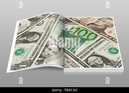 Many U.S. Dollar bills lying side by side. In the middle lies a 100 Euro bill - Stock Photo