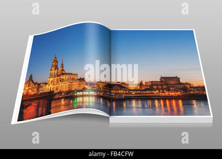 View over the Elbe river to the Semper Opera House and the Catholic Court Church, Dresden, Saxony, Germany, Europe - Stock Photo