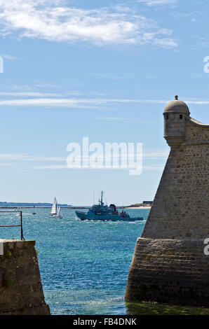 entrance channel to Port Louis and Lorient Brittany France - Stock Photo