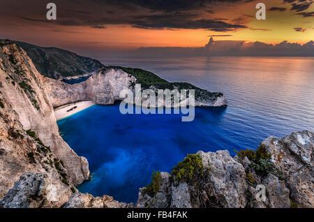 Navagio beach in Zakynthos island Greece - Stock Photo