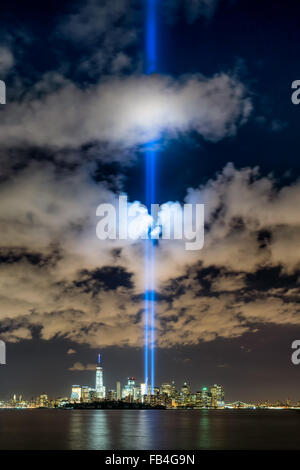 New York City September 11 2015 commemoration with the Tribute in Light in Lower Manhattan near the One World Trade - Stock Photo