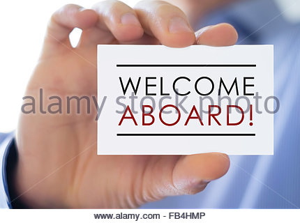 Welcome Aboard - business card - Stock Photo