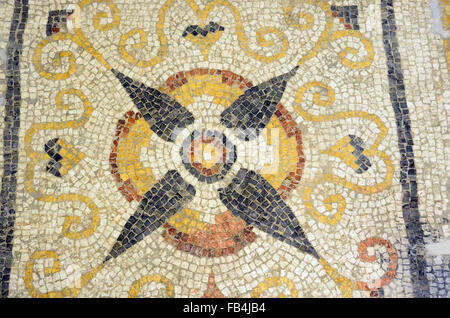 Ancient Roman Mosaic in National Museum of Archaeology of Cagliari, in Sardinia - Stock Photo