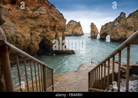 Ponta da Piedade Grottos at Lagos in the western Algarve, Portugal. - Stock Photo