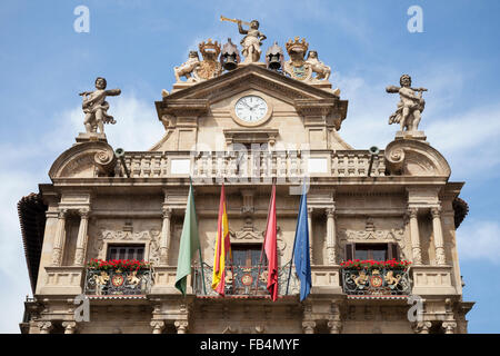 The facade of Pamplona City Hall in Plaza Consistorial - Navarre, Spain - Stock Photo