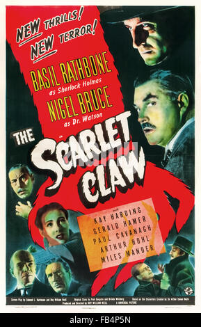 Poster for 'The Scarlet Claw' 1944 Sherlock Holmes film directed by Roy William Neill and starring Basil Rathbone - Stock Photo