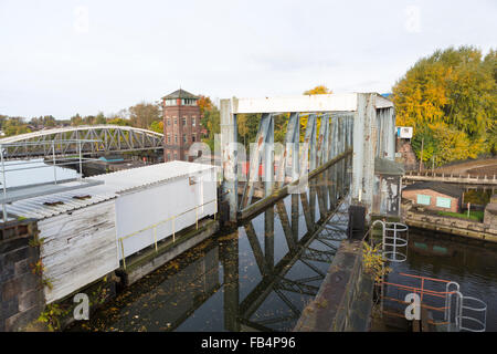 Barton Swing Aqueduct on the Bridgewater Canal crossing the Manchester ship Canal. - Stock Photo