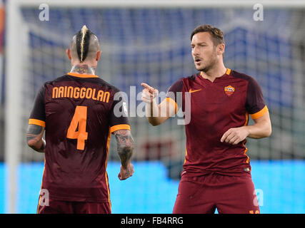 Rome, Italy. 09th Jan, 2016. Francesco Totti during the Italian Serie A football match A.S. Roma vs A.C. Milan at - Stock Photo