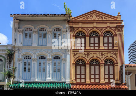 Traditional shophouses in Singapore - Stock Photo