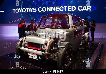 Las Vegas, USA. 9th Jan, 2016. A Toyota's connected car is displayed during the CES in Las Vegas, Nevada, the United - Stock Photo
