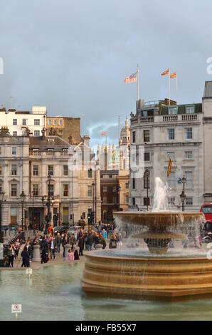 One of the fountains on Trafalgar Square, London, England - Stock Photo