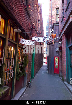 'Hearts Content' and other shops located in Fan Tan Alley, Canada's narrowest street, in Victoria, BC. - Stock Photo