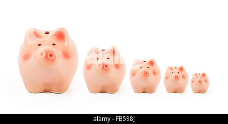 Set of pink piggy banks - Stock Photo