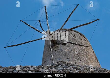 Windmill, Olympos, Karpathos, Greece - Stock Photo