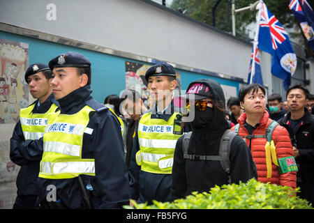 Hong Kong, China. 10th Jan, 2016. Surrounded by the police the so called protest 'trouble-makers are calling for - Stock Photo