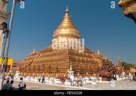 Main stupa of Shwezigon pagoda in Bagan, Mandalay Region, Myanmar. - Stock Photo