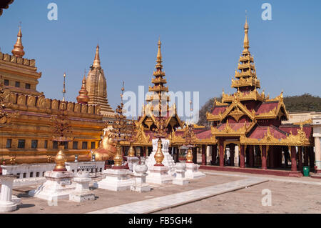Shwezigon pagoda in Bagan, Mandalay Region, Myanmar. - Stock Photo