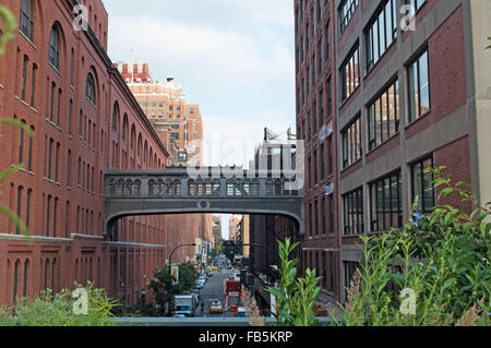 United States of America, Usa: the neighborhood of Chelsea seen from the High Line, a 1,45 mile long elevated linear - Stock Photo