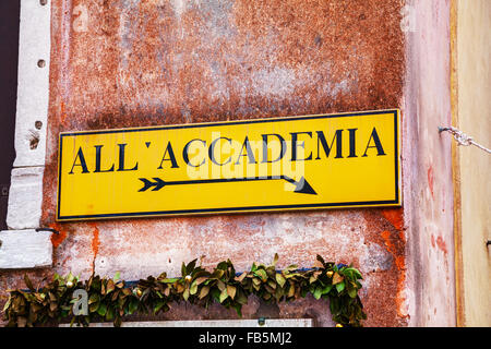 All Accademia direction sign in Venice, Italy - Stock Photo