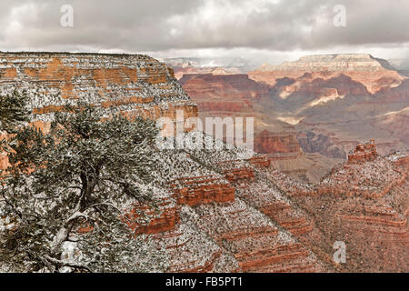 Snow-covered bluffs and canyons, from Rim Trail near the Village, Grand Canyon National Park, Arizona USA - Stock Photo