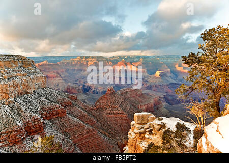 Snow-covered bluffs and canyons, from Rim Trail at the Village, Grand Canyon National Park, Arizona USA - Stock Photo