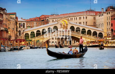 Gondola on the Grand Canal, Rialto Bridge, Venice, Italy, UNESCO - Stock Photo
