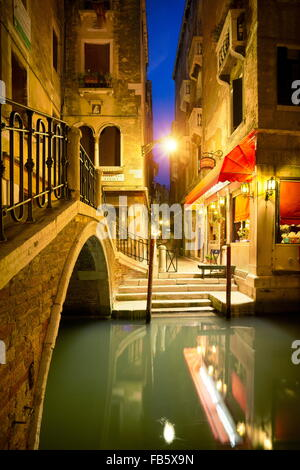 Venice at night, Veneto, Italy, UNESCO - Stock Photo